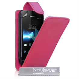 Yousave Accessories Sony Xperia Tipo Flip Pu Hot Pink Case