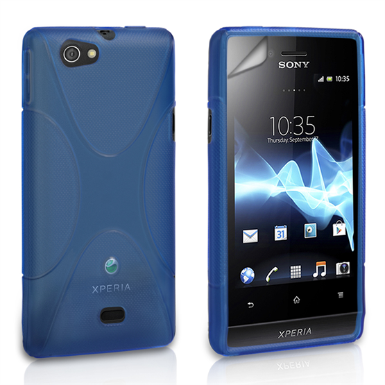Yousave Accessories Sony Xperia Miro Silicone Gel X-Line Case - Blue