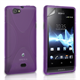 Yousave Accessories Sony Xperia Miro Silicone Gel X-Line Case - Purple