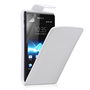 Yousave Accessories Sony Xperia J White PU Leather Flip Case