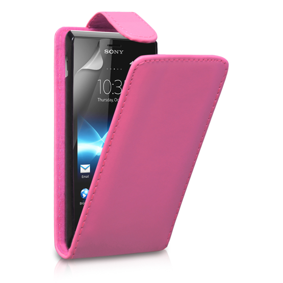 Yousave Accessories Sony Xperia J Flip Pu Hot Pink Case
