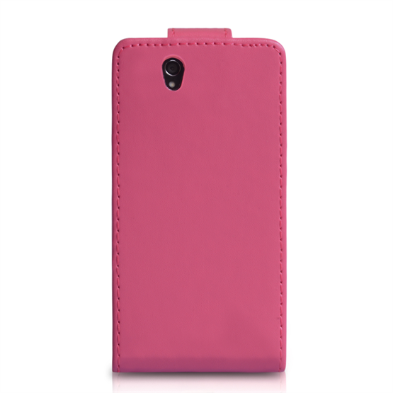 Yousave Accessories Sony Xperia Z PU Flip Hot Pink Case