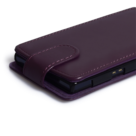 Yousave Accessories Sony Xperia Z PU Flip Purple Case