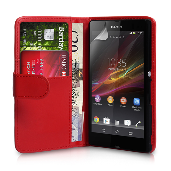 Yousave Accessories Sony Xperia Z PU Wallet Red Case