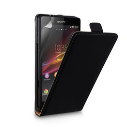 Yousave Accessories Sony Xperia Z Real Leather Flip Black Case