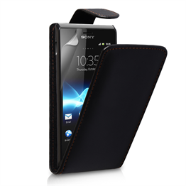 Yousave Accessories Sony Xperia E PU Flip Black Case