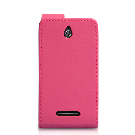 Yousave Accessories Sony Xperia E PU Flip Hot Pink Case