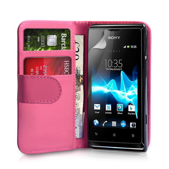 Yousave Accessories Sony Xperia E PU Wallet Hot Pink Case