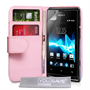 Yousave Accessories Sony Xperia E PU Wallet Baby Pink Case