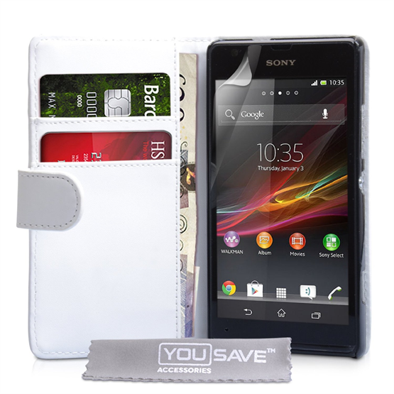 Yousave Accessories Sony Xperia SP PU Wallet White Case