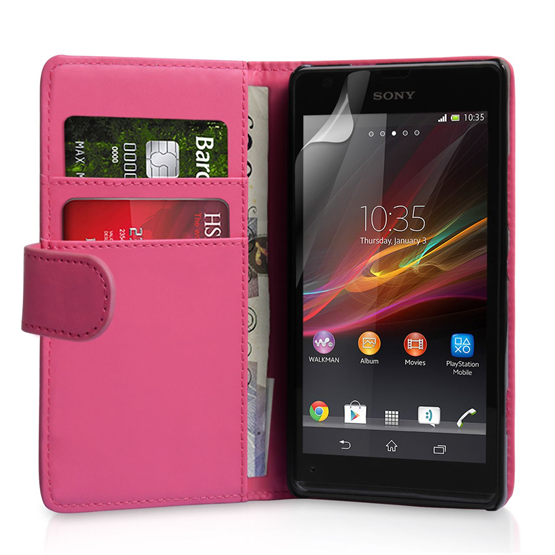 Yousave Accessories Sony Xperia SP PU Wallet Hot Pink Case