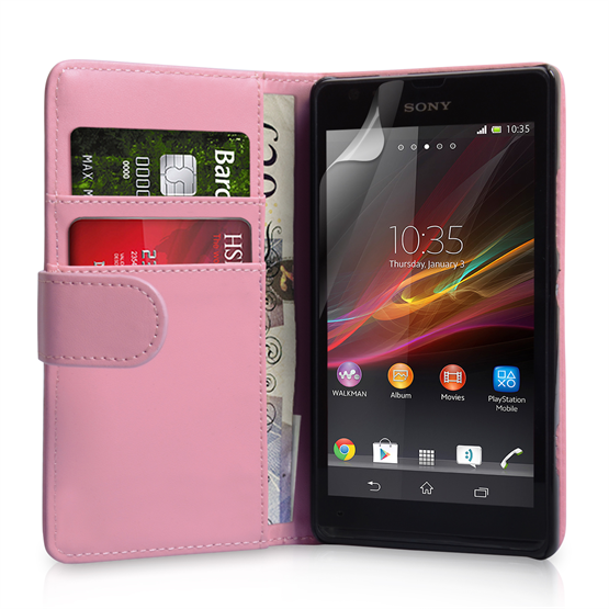 Yousave Accessories Sony Xperia SP PU Wallet Baby Pink Case