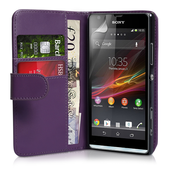 Yousave Accessories Sony Xperia SP Leather Effect Flip Case - Purple