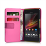 Yousave Accessories Sony Xperia M PU Wallet Hot Pink Case