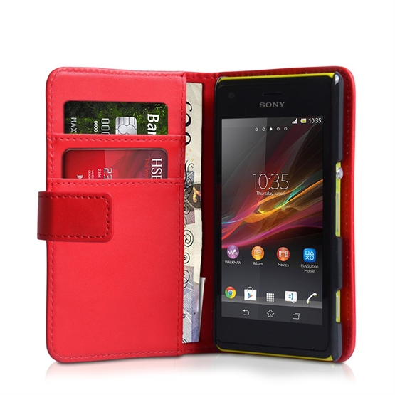 Yousave Accessories Sony Xperia M PU Wallet Red Case