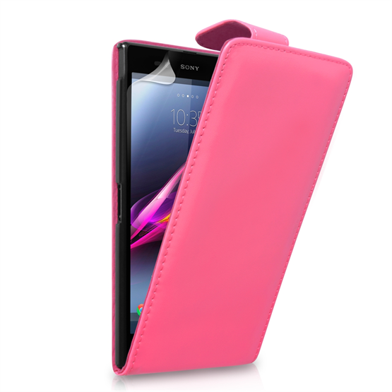 Yousave Accessories Sony Xperia Z Ultra Leather-Effect Flip Case - Hot Pink