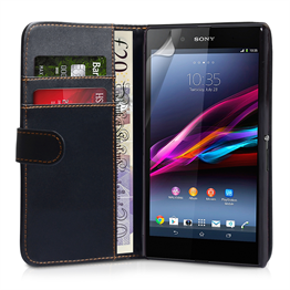 Yousave Accessories Sony Xperia Z Ultra Leather-Effect Wallet Case - Black