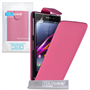 Yousave Accessories Sony Xperia Z1 PU Flip Hot Pink Case