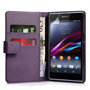 Yousave Accessories Sony Xperia Z1 Leather-Effect Wallet Case - Purple