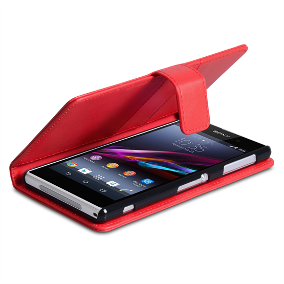 Yousave Accessories Sony Xperia Z1 Leather-Effect Wallet Case - Red