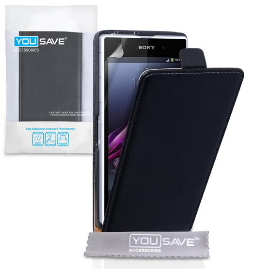 Yousave Accessories Sony Xperia Z1 Real Leather Flip Black Case
