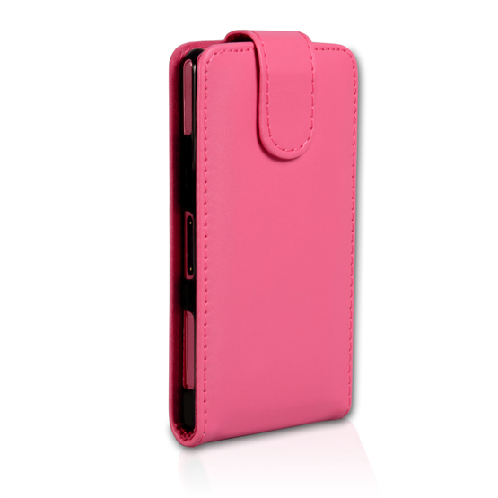 Yousave Accessories Sony Xperia Z1 Compact Leather-Effect Flip Case - Hot Pink