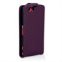 Yousave Accessories Sony Xperia Z1 Compact Leather-Effect Flip Case - Purple