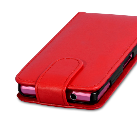 Yousave Accessories Sony Xperia Z1 Compact Leather-Effect Flip Case - Red