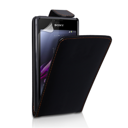 Yousave Accessories Sony Xperia E1 Leather-Effect Flip Case - Black