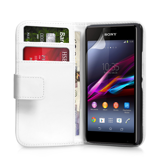 Yousave Accessories Sony Xperia E1 Leather-Effect Wallet Case - White
