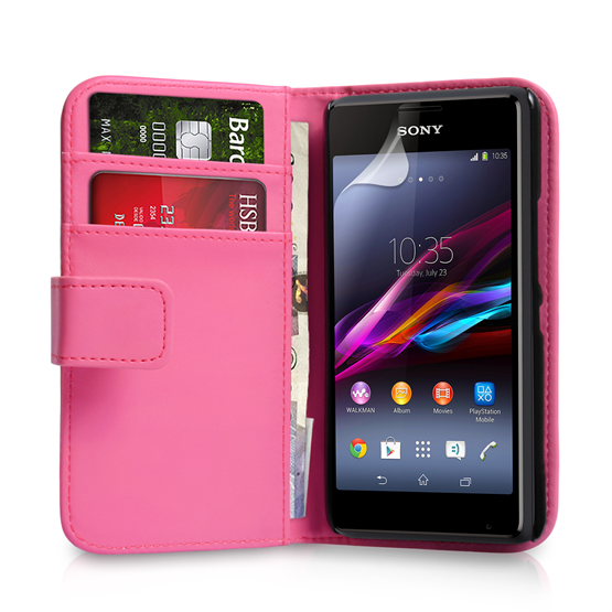 Yousave Accessories Sony Xperia E1 Leather-Effect Wallet Case - Hot Pink