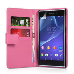 Yousave Accessories Sony Xperia Z2 Leather-Effect Wallet Case - Hot Pink