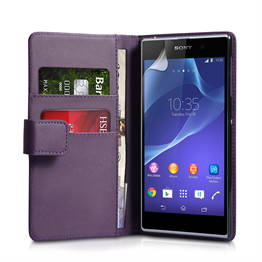 Yousave Accessories Sony Xperia Z2 Leather-Effect Wallet Case - Purple