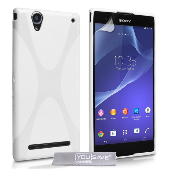 Yousave Accessories Sony Xperia T2 Ultra Silicone Gel X-Line Case - White