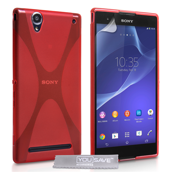 Yousave Accessories Sony Xperia T2 Ultra Silicone Gel X-Line Case - Red