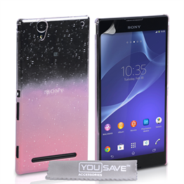 Yousave Accessories Sony Xperia T2 Ultra Raindrop Hard Case - Baby Pink-Clear