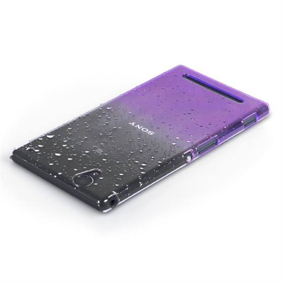 Yousave Accessories Sony Xperia T2 Ultra Raindrop Hard Case - Purple-Clear