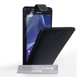 Yousave Accessories Sony Xperia T2 Ultra PU Flip Black Case