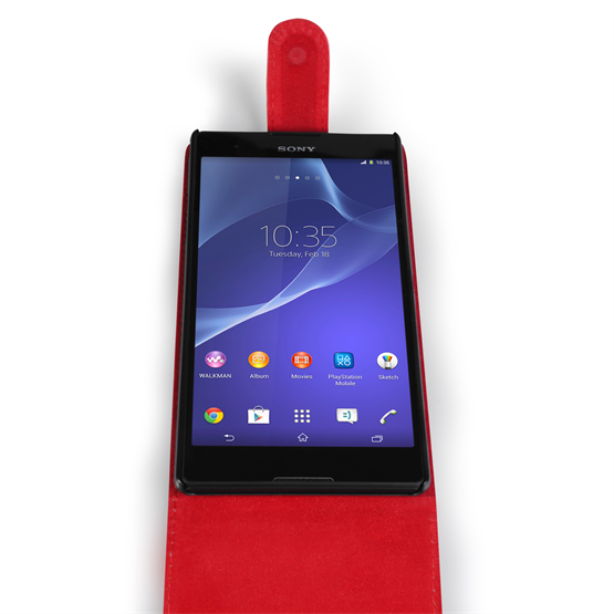 Yousave Accessories Sony Xperia T2 Ultra Leather-Effect Flip Case - Red