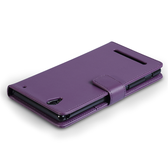 Yousave Accessories Sony Xperia T2 Ultra Leather-Effect Wallet Case - Purple