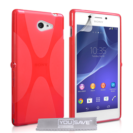 Yousave Accessories Sony Xperia M2 Silicone Gel X-Line Case - Red