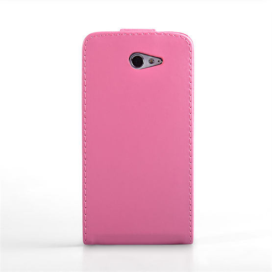 Yousave Accessories Sony Xperia M2 Leather-Effect Flip Case - Hot Pink