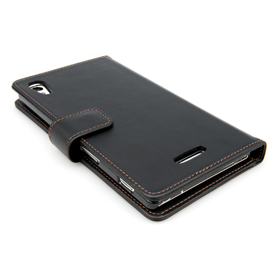 Yousave Accessories Sony Xperia T3 Leather-Effect Wallet Case - Black