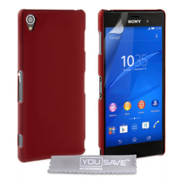 Yousave Accessories Sony Xperia Z3 Hard Hybrid Case - Red
