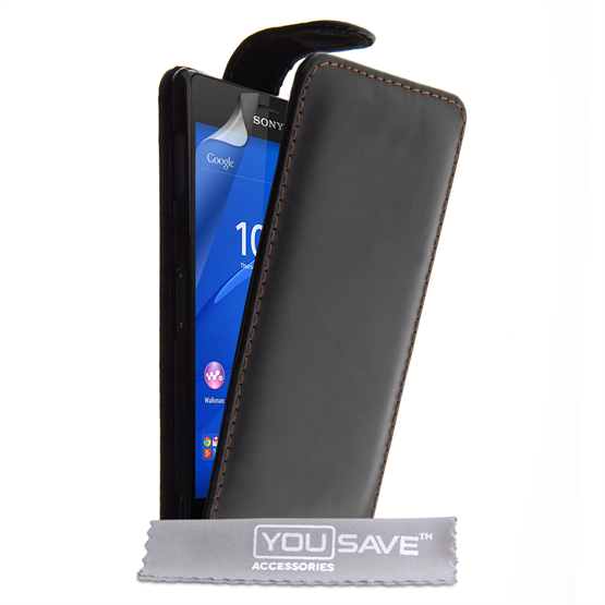 Yousave Accessories Sony Xperia Z3 Leather-Effect Flip Case - Black