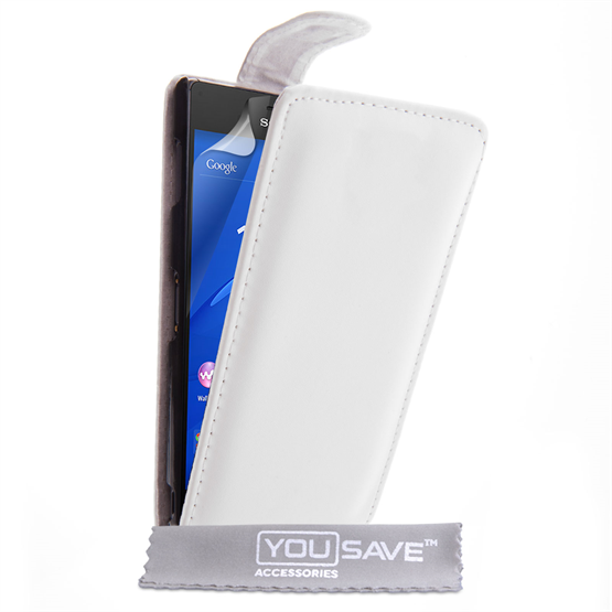 Yousave Accessories Sony Xperia Z3 Leather-Effect Flip Case - White