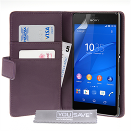 Yousave Accessories Sony Xperia Z3 Leather-Effect Wallet Case - Purple