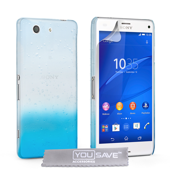 Yousave Accessories Sony Xperia Z3 Compact Raindrop Hard Case - Blue-Clear