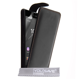 Yousave Accessories Sony Xperia Z3+ Leather-Effect Flip Case - Black