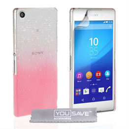 Yousave Accessories Sony Xperia Z3+ Raindrop Hard Case - Baby Pink-Clear